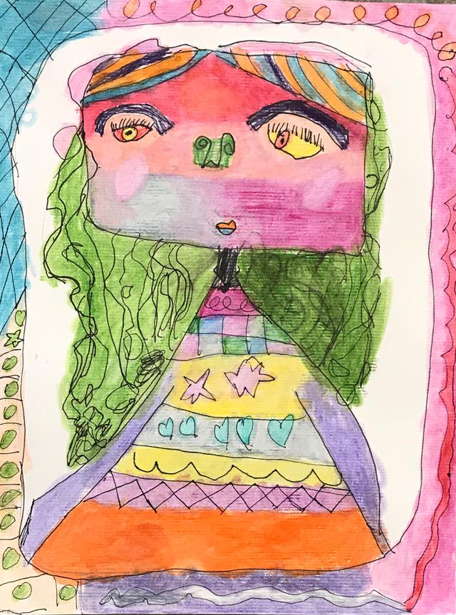 Wide-eyed Self Portrait Art Lesson // www.smallhandsbigart.com