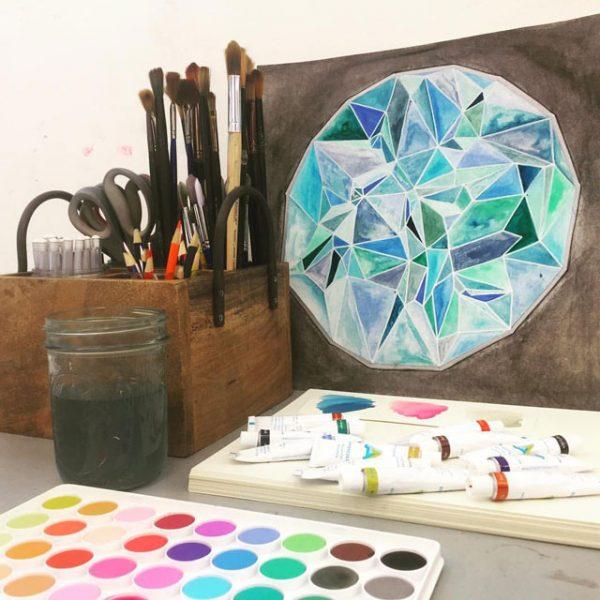 Modern Geometric Watercolor Adult Workshop / Small Hands Big Art