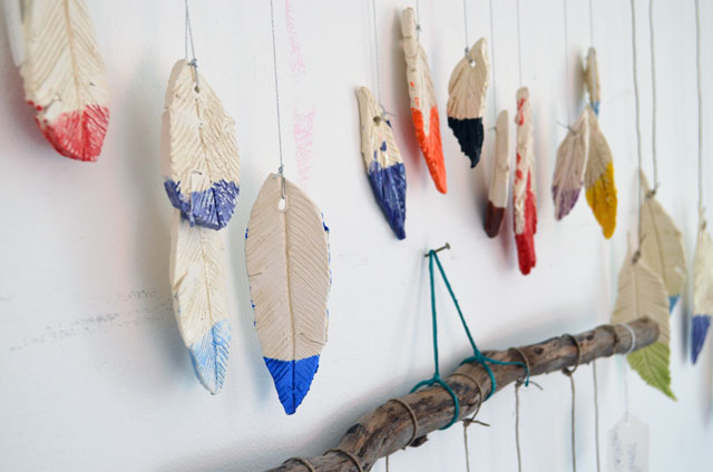 Ceramic Feather Wind Chimes | www.smallhandsbigart.com