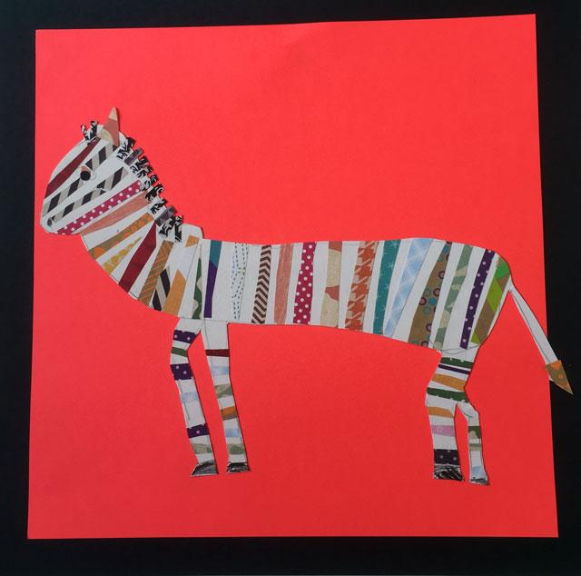 Melanie Mikecz Collaged Zebras | www.smallhandsbigart.com