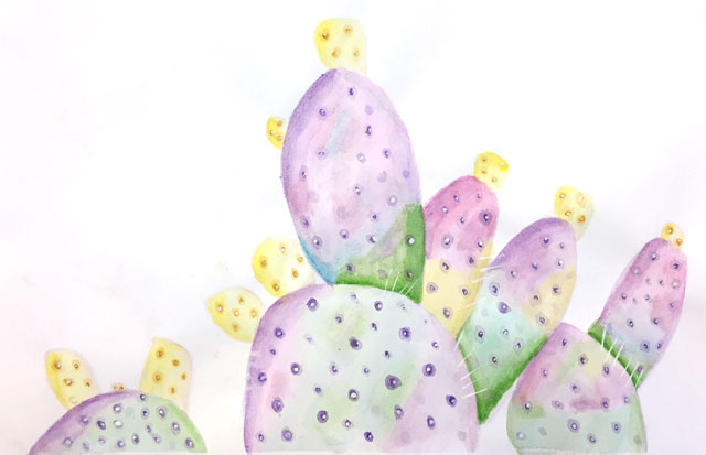 watercolor cacti + succulents // www.smallhandsbigart.com