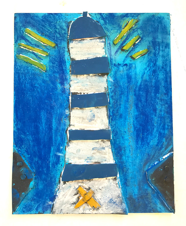 Chalk Pastel Lighthouse // www.smallhandsbigart.com