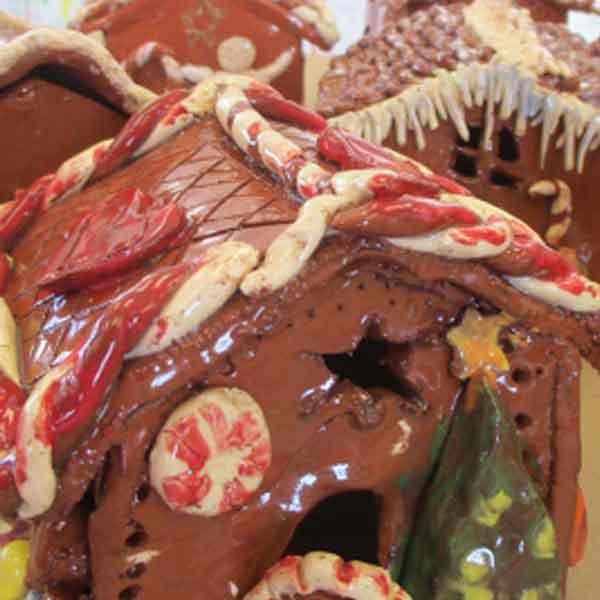 ceramic gingerbread house | Winter Holiday Art Highlights | www.smallhandsbigart.com/blog