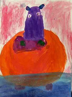 Melanie Mikecz Inspired Happy Hippos | www.smallhandsbigart.com/blog