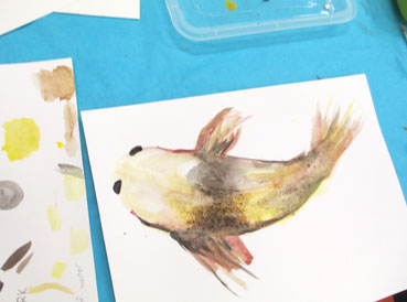 Tween + Teen Art Class Highlights | watercolor fish | www.smallhandsbigart.com/blog
