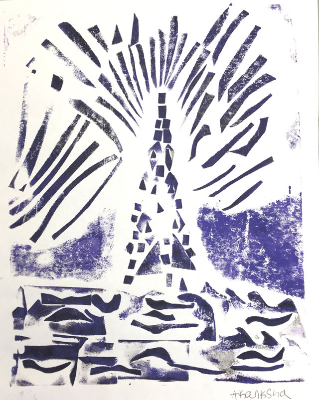Lighthouse Collagraph Printmaking Project // www.smallhandsbigart.com