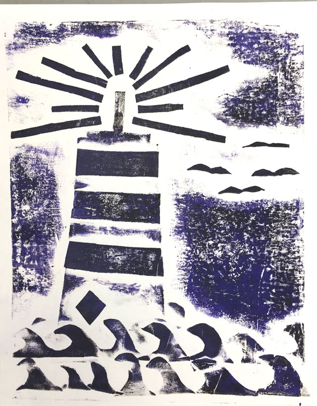 Lighthouse Collagraph // www.smallhandsbigart.com