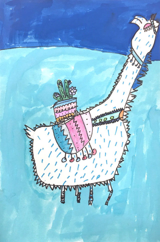 Llama painting project // www.smallhandsbigart.com
