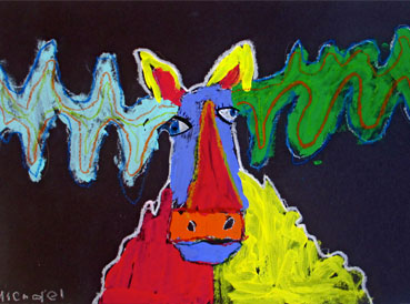 Moose Mixed Media Art Project | www.smallhandsbigart.com/blog