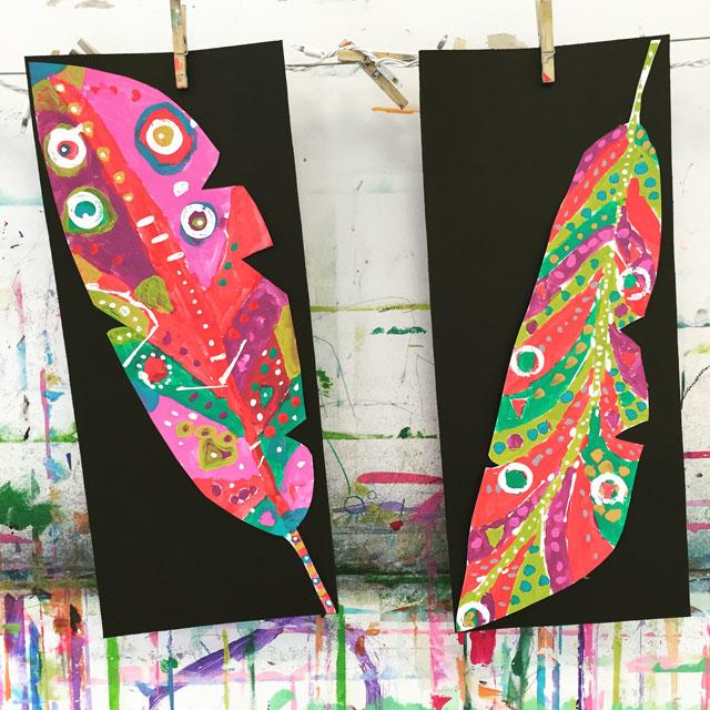 Neon Feathers // www.smallhandsbigart.com