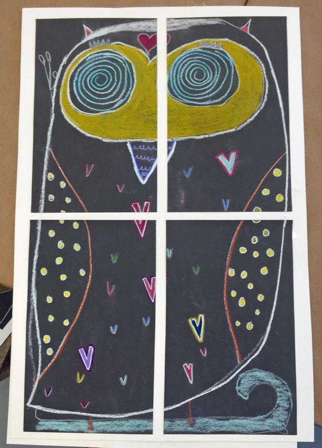Sandpaper Color Pencil Owls