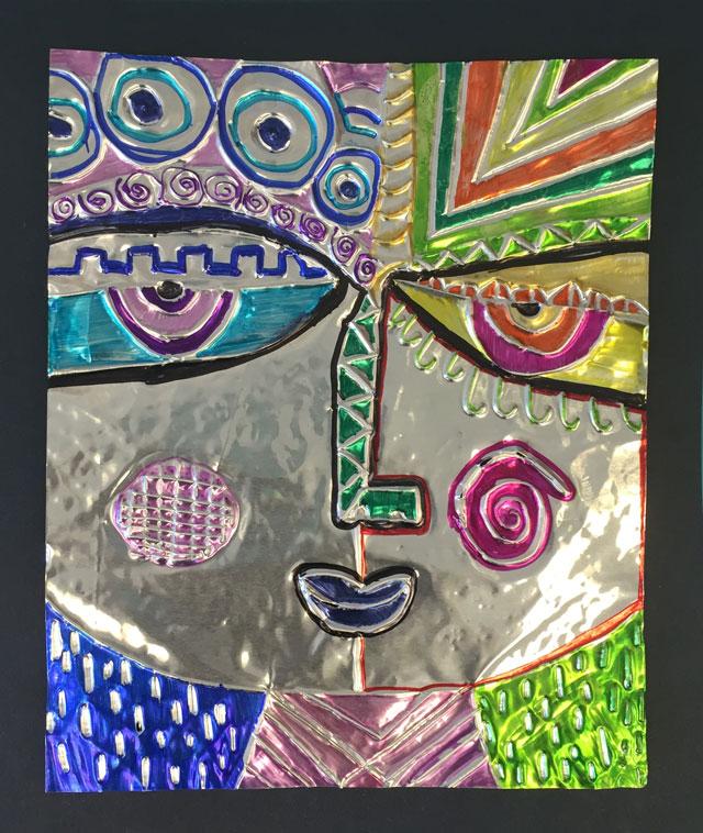Sandra Silberzwieg tooling foil portraits | www.smallhandsbigart.com