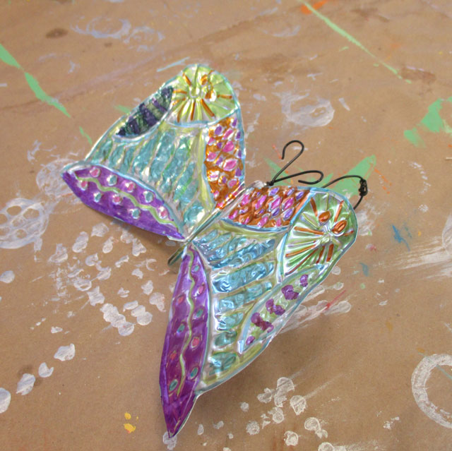 Art Summer Camp in Charlotte, NC // Tooling Foil Butterfly | www.smallhandsbigart.com