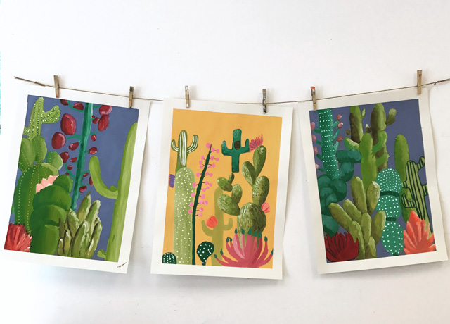 Middle School Cacti Painting Project// www.smallhandsbigart.com