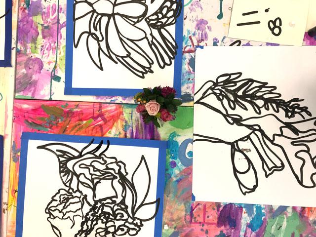Contour Flower Gestural Drawing
