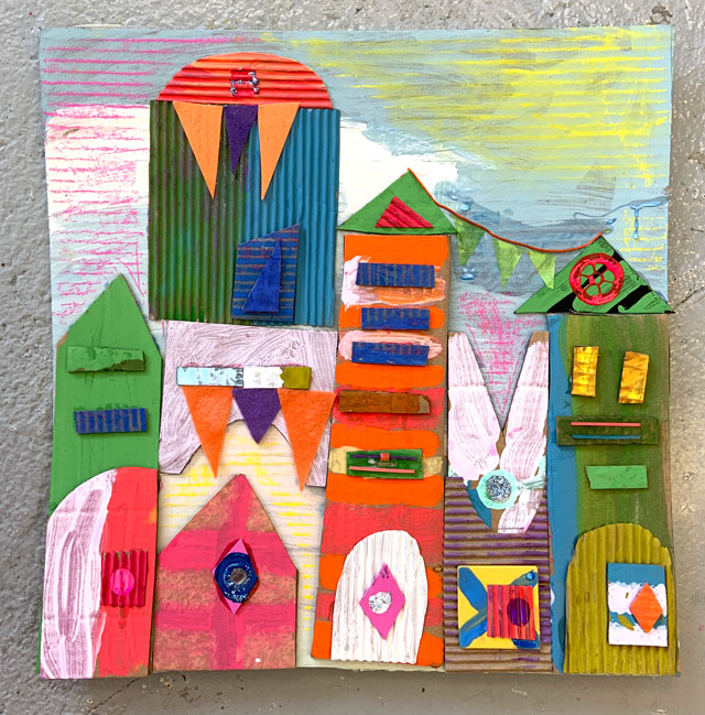 Its a Small World Cardboard Collage