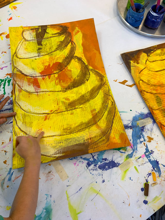 Cardboard beehive art project