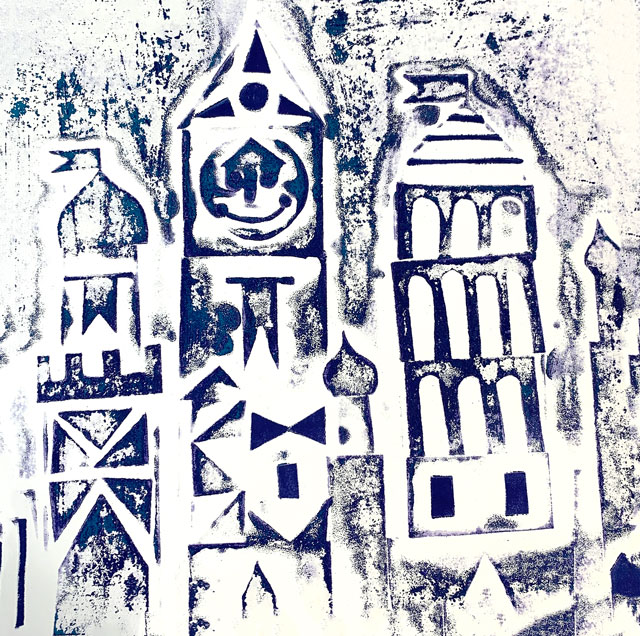 It's a Small World Collagraph Print