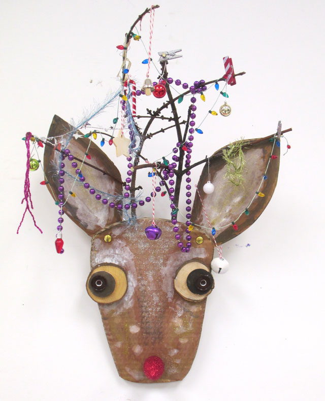 Cardboard Reindeer Bust