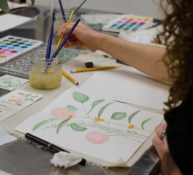 Adult Watercolor Class Charlotte / Small Hands Big Art